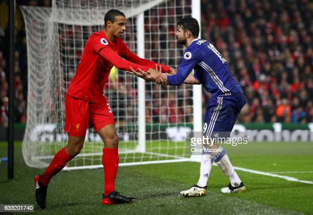 Joel Matip of Liverpool shakes hands with Diego Costa of Chelsea during the Premier League match between Liverpool and Chelsea at Anfield on January...