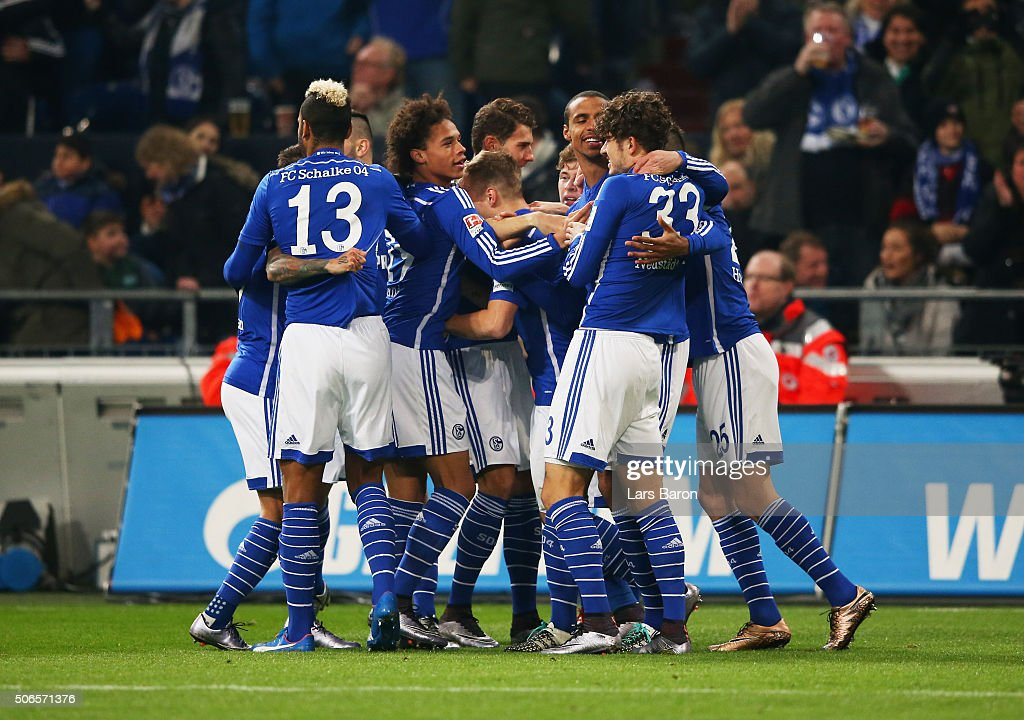 Joel Matip of Schalke (3R) celebrates with team mates as he scores their first goal during the Bundesliga match between FC Schalke 04 and Werder Bremen at Veltins-Arena on January 24, 2016 in Gelsenkirchen, Germany.