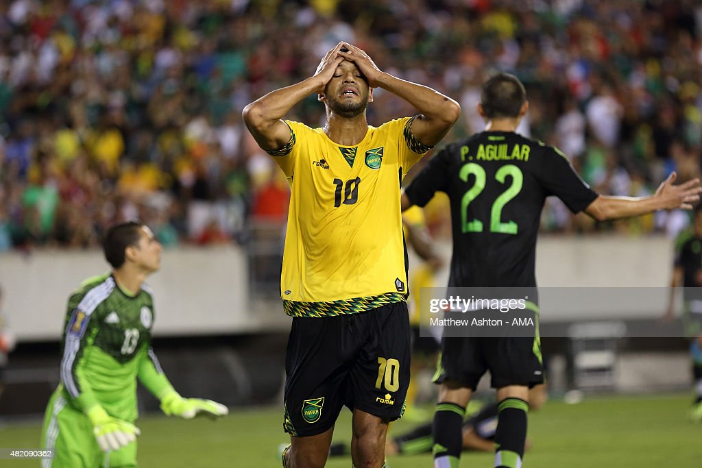 Joel McAnuff #10 of Jamaica reacts after missing a chance to score in the first half during the 2015 CONCACAF Gold Cup Final match between Jamaica and Mexico at Lincoln Financial Field on July 26, 2015 in Philadelphia,Pennsylvania.