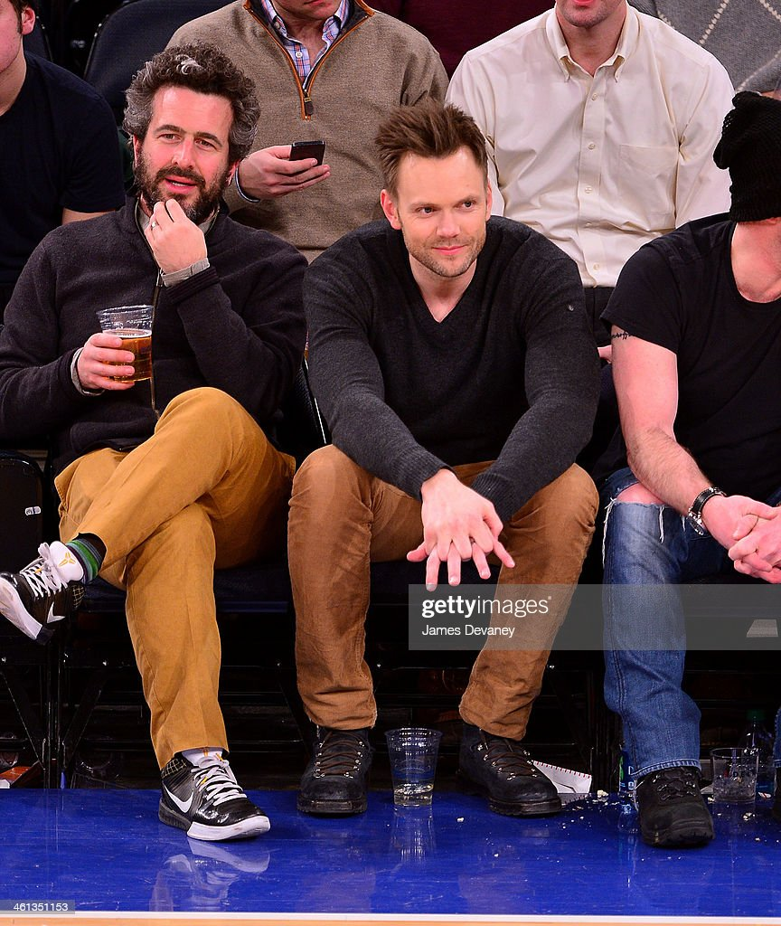 <a gi-track='captionPersonalityLinkClicked' href=/galleries/search?phrase=Joel+McHale&family=editorial&specificpeople=754384 ng-click='$event.stopPropagation()'>Joel McHale</a> and guest (L) attend the Detroit Pistons vs New York Knicks game at Madison Square Garden on January 7, 2014 in New York City.