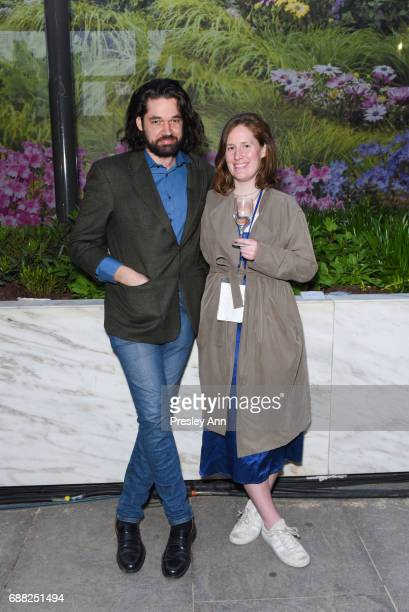 Joel Meyers and Julia Simpson attend The Shed First Reveal VIP Cocktail Party at The Shed on May 24 2017 in New York City