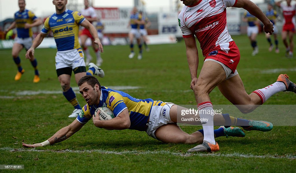 Joel Moon of Leeds dives in to score his second half try during the Super League match between Hull Kingston Rovers and Leeds Rhinos at Craven Park Stadium on April 28, 2013 in Hull, England.
