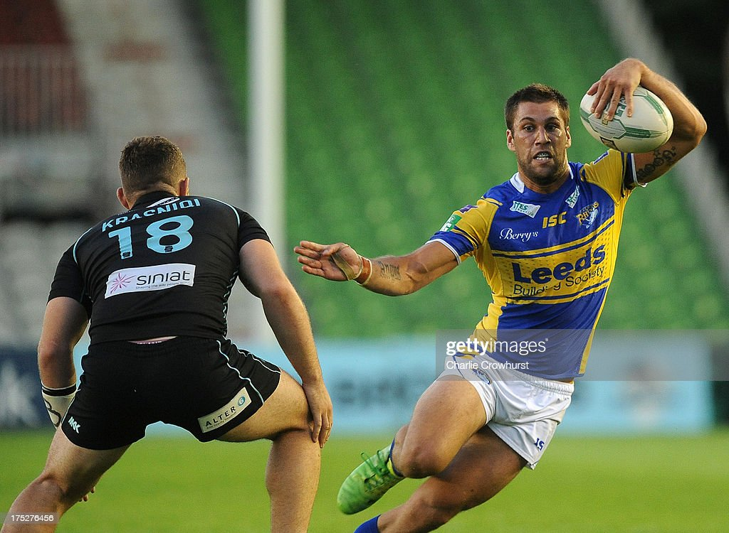 Joel Moon of Leeds Rhinos attacks during the Super League match between London Broncos and Leeds Rhinos at Twickenham Stoop on August 01, 2013 in London, England.