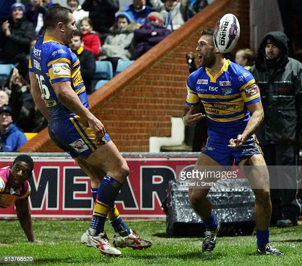 Joel Moon of Leeds Rhinos celebrates after scoring the opening try during the First Utility Super League match between Leeds Rhinos and Huddersfield...