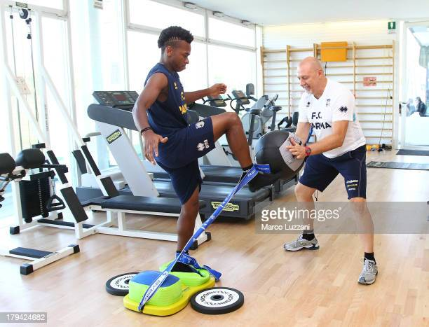 Joel Obi new signing of Parma FC trains in the gym with Mauro Citzia at the club's training ground on September 3 2013 in Collecchio Italy