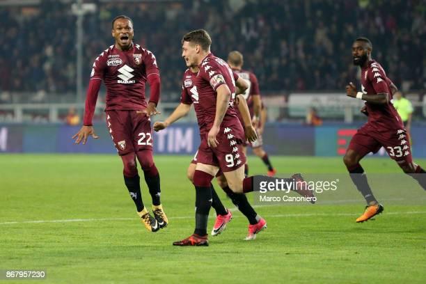 Joel Obi of Torino FC celebrate after scoring a goal during the Serie A football match between Torino Fc and Cagliari Calcio Torino Fc wins 21 over...
