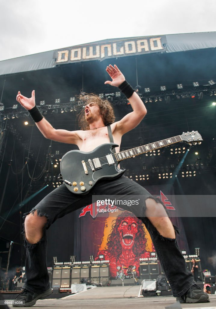 Joel O'Keeffe lead singer of Airbourne performing live on Day 3 of Download Festival at Donington Park on June 11, 2017 in Castle Donington, UK.