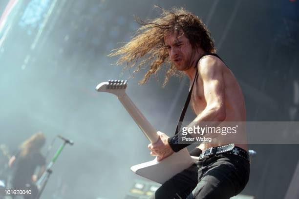 Joel O'Keeffe of Airbourne performs during the second day of Rock am Ring on June 04 2010 in Nuerburg Germany