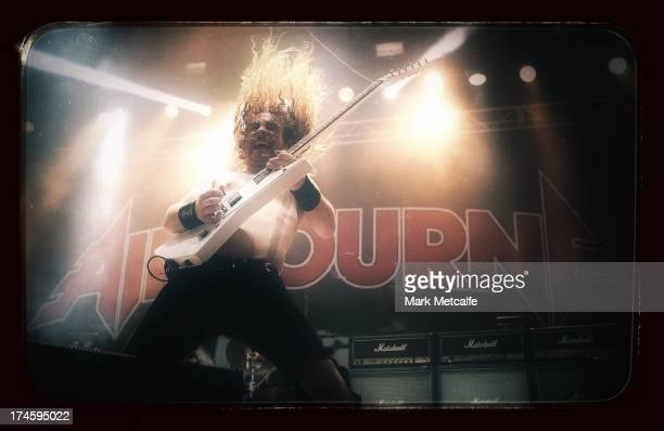 Joel O'Keeffe of Airbourne performs for fans on day 3 of the 2013 Splendour In The Grass Festival on July 28 2013 in Byron Bay Australia