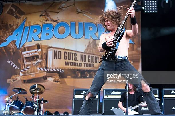 Joel O'Keeffe of Airbourne performs on stage at Hellfest Festival on June 19 2010 in Clisson France