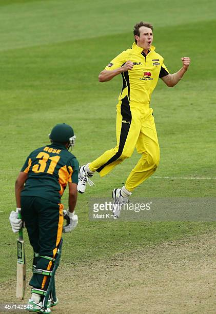 Joel Paris of the Warriors celebrates taking the final wicket of Clive Rose of the Tigers during the Matador BBQs One Day Cup match between Tasmania...