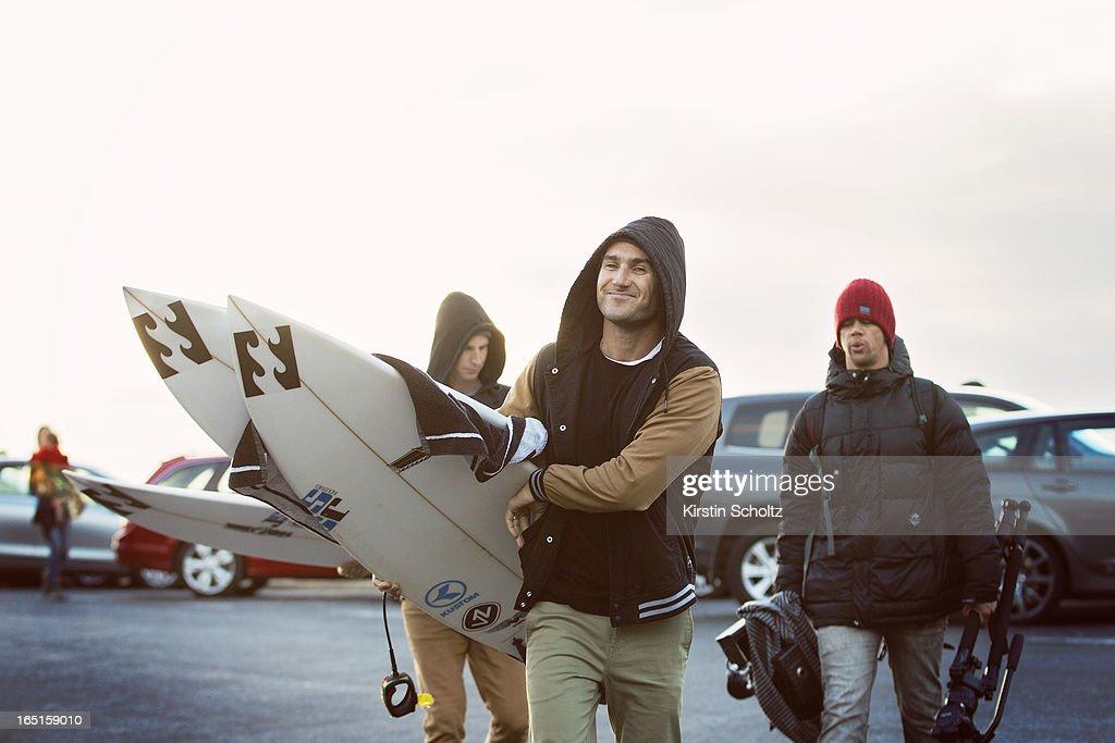 Joel Parkinson of Australia arrives at the Rip Curl Pro on April 1, 2013 in Bells Beach, Australia.