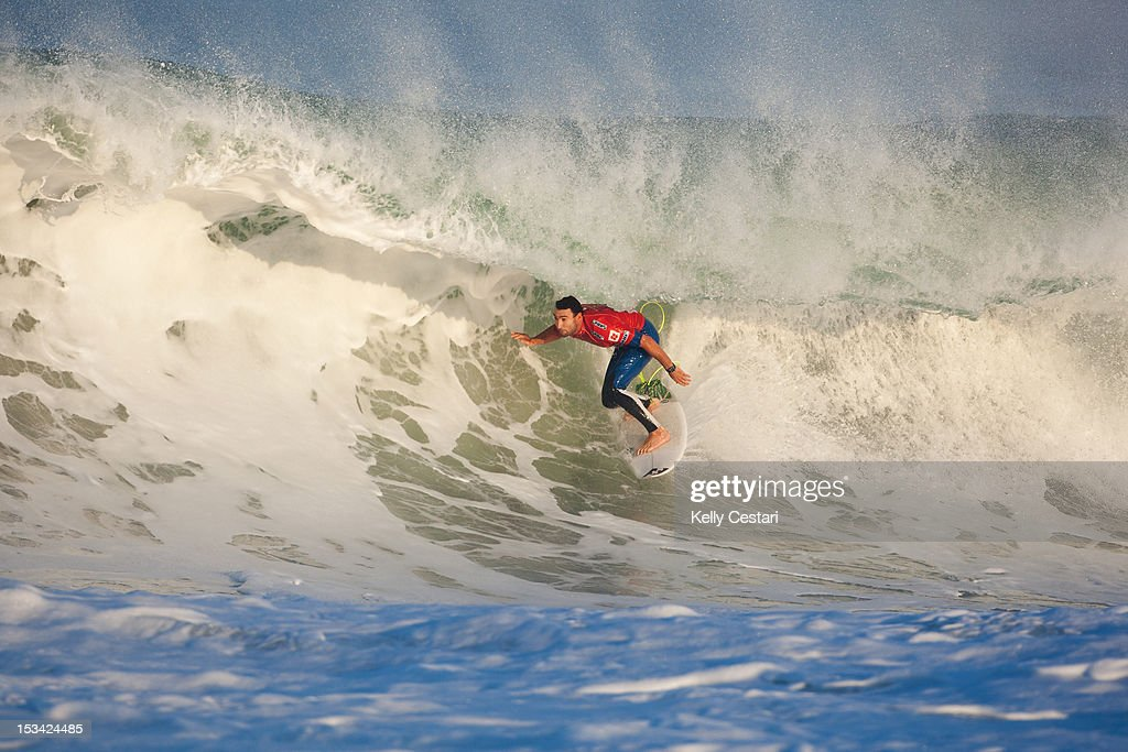 <a gi-track='captionPersonalityLinkClicked' href=/galleries/search?phrase=Joel+Parkinson&family=editorial&specificpeople=234875 ng-click='$event.stopPropagation()'>Joel Parkinson</a> of Australia placed equal 3rd in the Quiksilver Pro France after being defeated by 11 times ASP World Champion Kelly Slater of the United States in the Semi Finals on October 5, 2012 in Hossegor, France.