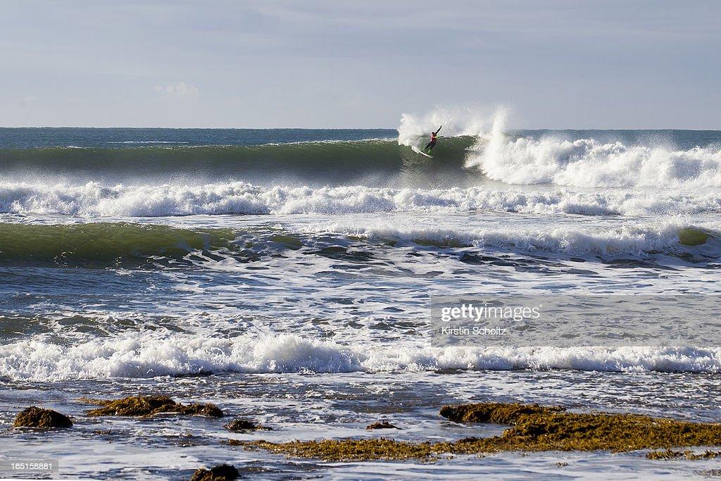 Joel Parkinson of Australia surfs during round three at the Rip Curl Pro on April 1, 2013 in Bells Beach, Australia.
