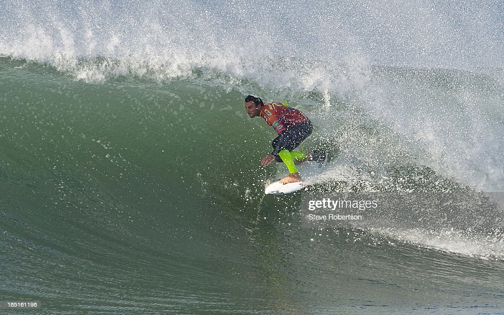 Joel Parkinson of Australia went down to Brazilian surfer Raoni Monterio in a super high scoring shoot-out with Parkinson scoring a perfect 10 and backing it up with an outstanding 9.1 for a two wave total of 19.1. on April 1, 2013 in Bells Beach, Australia.