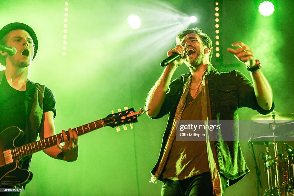 Joel Peat and Andy Brown of Lawson perform on stage during the music event OMG Live at LG Arena on April 24 2014 in Birmingham United Kingdom