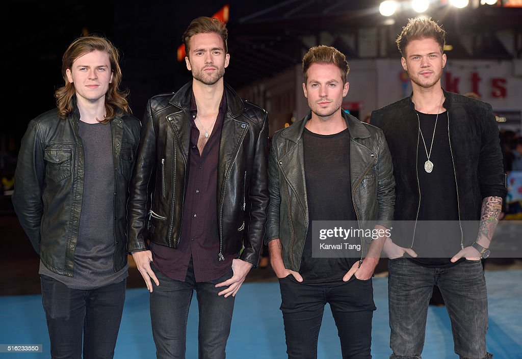 Joel Peat, Andy Brown, Adam Pitts and Ryan Fletcher of Lawson arrive for the European premiere of 'Eddie The Eagle' at Odeon Leicester Square on March 17, 2016 in London, England.