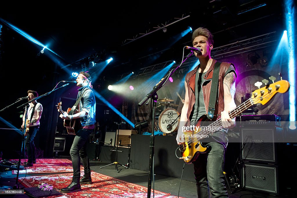 Joel Peat, Andy Brown, Adam Pitts and Ryan Fletcher of Lawson perform during a sold out show on their Chapman Square Tour at Rock City on March 6, 2013 in Nottingham, England.
