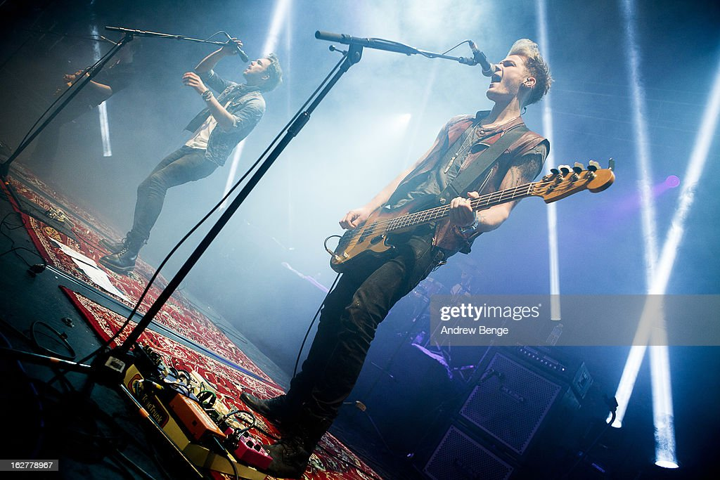 Joel Peat, Andy Brown and Ryan Fletcher of Lawson perform on stage at O2 Academy on February 26, 2013 in Leeds, England.