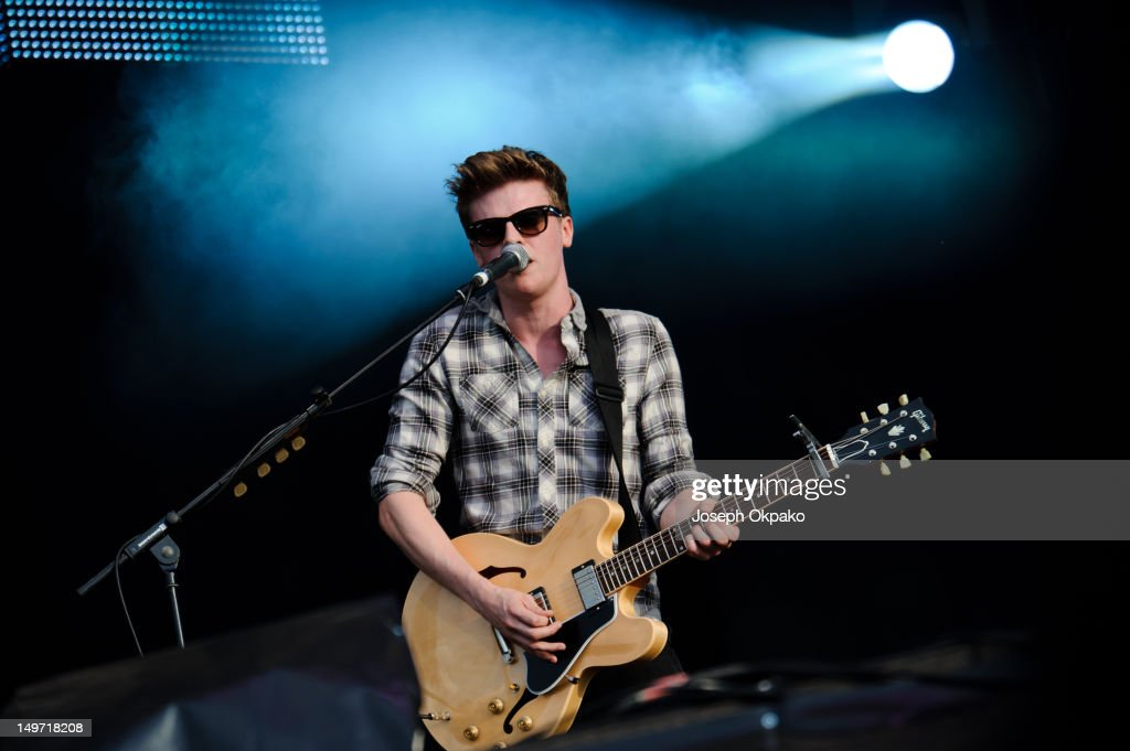Joel Peat of British poprock band Lawson performs at BT London Live at Hyde Park on August 2 2012 in London England