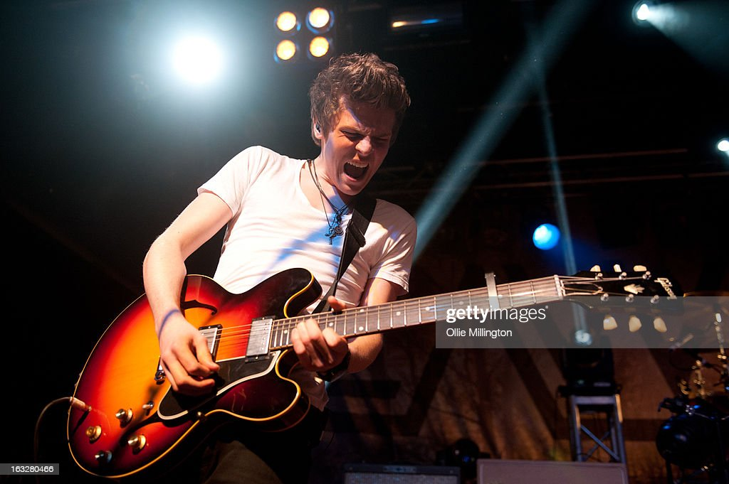 <a gi-track='captionPersonalityLinkClicked' href=/galleries/search?phrase=Joel+Peat&family=editorial&specificpeople=7078660 ng-click='$event.stopPropagation()'>Joel Peat</a> of Lawson performs during a sold out show on their Chapman Square Tour at Rock City on March 6, 2013 in Nottingham, England.