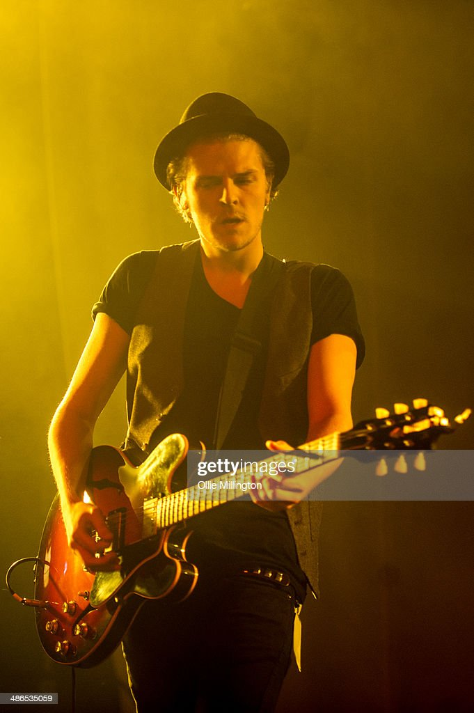 Joel Peat of Lawson performs on stage during the music event OMG Live at LG Arena on April 24 2014 in Birmingham United Kingdom