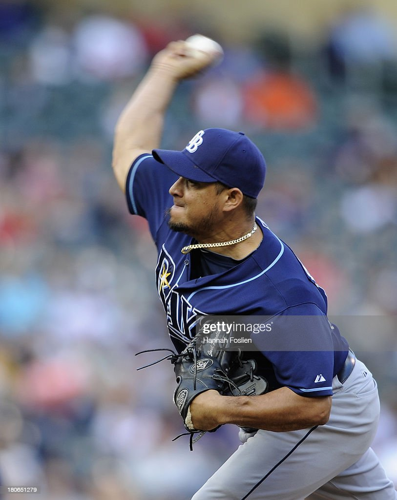 <a gi-track='captionPersonalityLinkClicked' href=/galleries/search?phrase=Joel+Peralta&family=editorial&specificpeople=581506 ng-click='$event.stopPropagation()'>Joel Peralta</a> #62 of the Tampa Bay Rays delivers a pitch against the Minnesota Twins during the eighth inning of the game on September 15, 2013 at Target Field in Minneapolis, Minnesota. The Twins defeated the Rays 6-4.