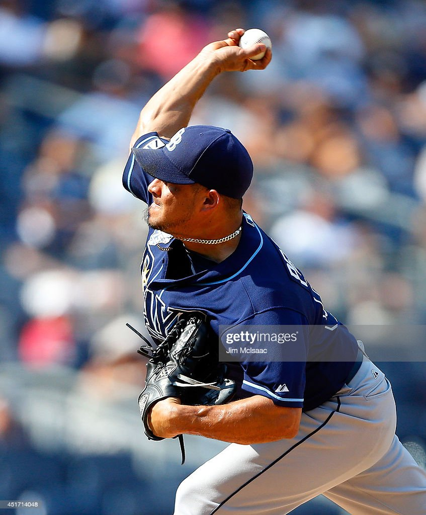 Joel Peralta #62 of the Tampa Bay Rays in action against the New York Yankees at Yankee Stadium on July 2, 2014 in the Bronx borough of New York City. The Rays defeated the Yankees 6-3.