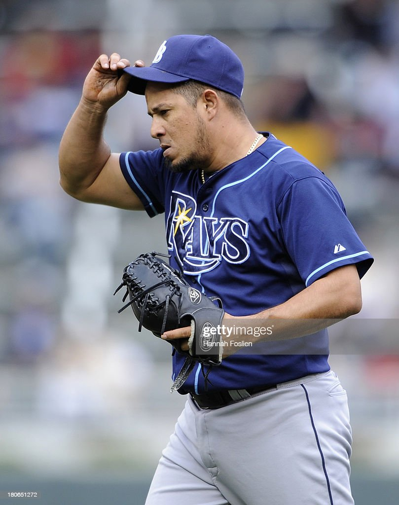 <a gi-track='captionPersonalityLinkClicked' href=/galleries/search?phrase=Joel+Peralta&family=editorial&specificpeople=581506 ng-click='$event.stopPropagation()'>Joel Peralta</a> #62 of the Tampa Bay Rays reacts during the eighth inning of the game against the Minnesota Twins on September 15, 2013 at Target Field in Minneapolis, Minnesota. The Twins defeated the Rays 6-4.