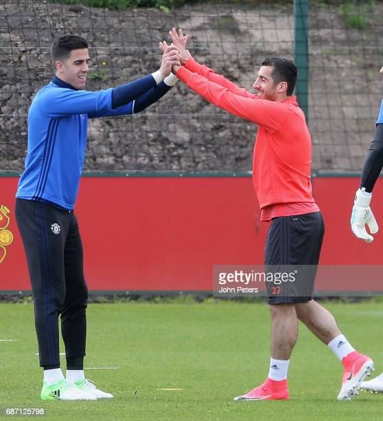 Joel Pereira and Henrikh Mkhitaryan of Manchester United in action during a first team training session ahead of the UEFA Europa League Final at Aon...