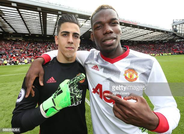 Joel Pereira and Paul Pogba of Manchester United pose after the Premier League match between Manchester United and Crystal Palace at Old Trafford on...