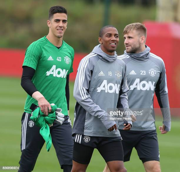 Joel Pereira Ashley Young and Luke Shaw of Manchester United in action during a first team training session at Aon Training Complex on August 22 2017...