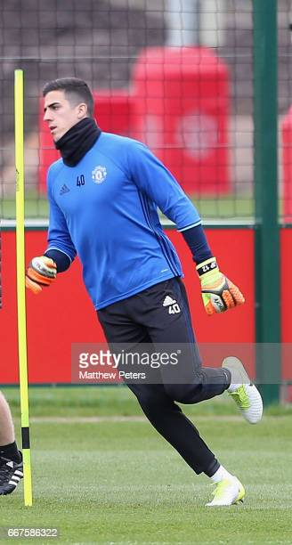 Joel Pereira of Manchester United in action during a first team training session at Aon Training Complex on April 12 2017 in Manchester United Kingdom