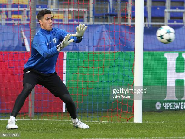 Joel Pereira of Manchester United in action during a training session ahead of their UEFA Champions League match against CSKA Moscow at VEB Arena on...