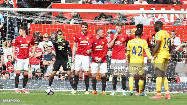 Joel Pereira of Manchester United prepares to face a freekick during the Premier League match between Manchester United and Crystal Palace at Old...