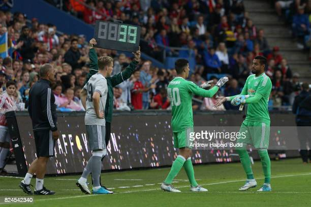 Joel Pereira of Manchester United replaces Sergio Romero in the second half against Valerenga today at Ullevaal Stadion on July 30 2017 in Oslo Norway