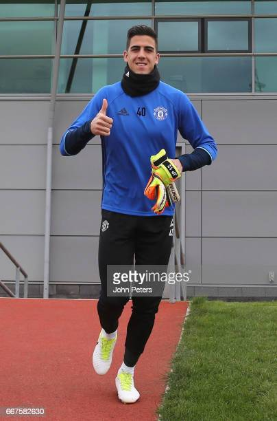 Joel Pereira of Manchester United walks out ahead of a first team training session at Aon Training Complex on April 12 2017 in Manchester United...