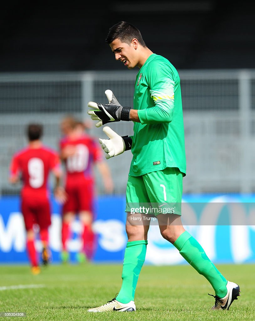 Joel Pereira of Portugal reacts as Matej Pulkrab of Czech Republic(not pictured) scores his sides first goal during the Final of the Toulon Tournament between England and France at Parc Des Sports on May 29, 2016 in Avignon, France.