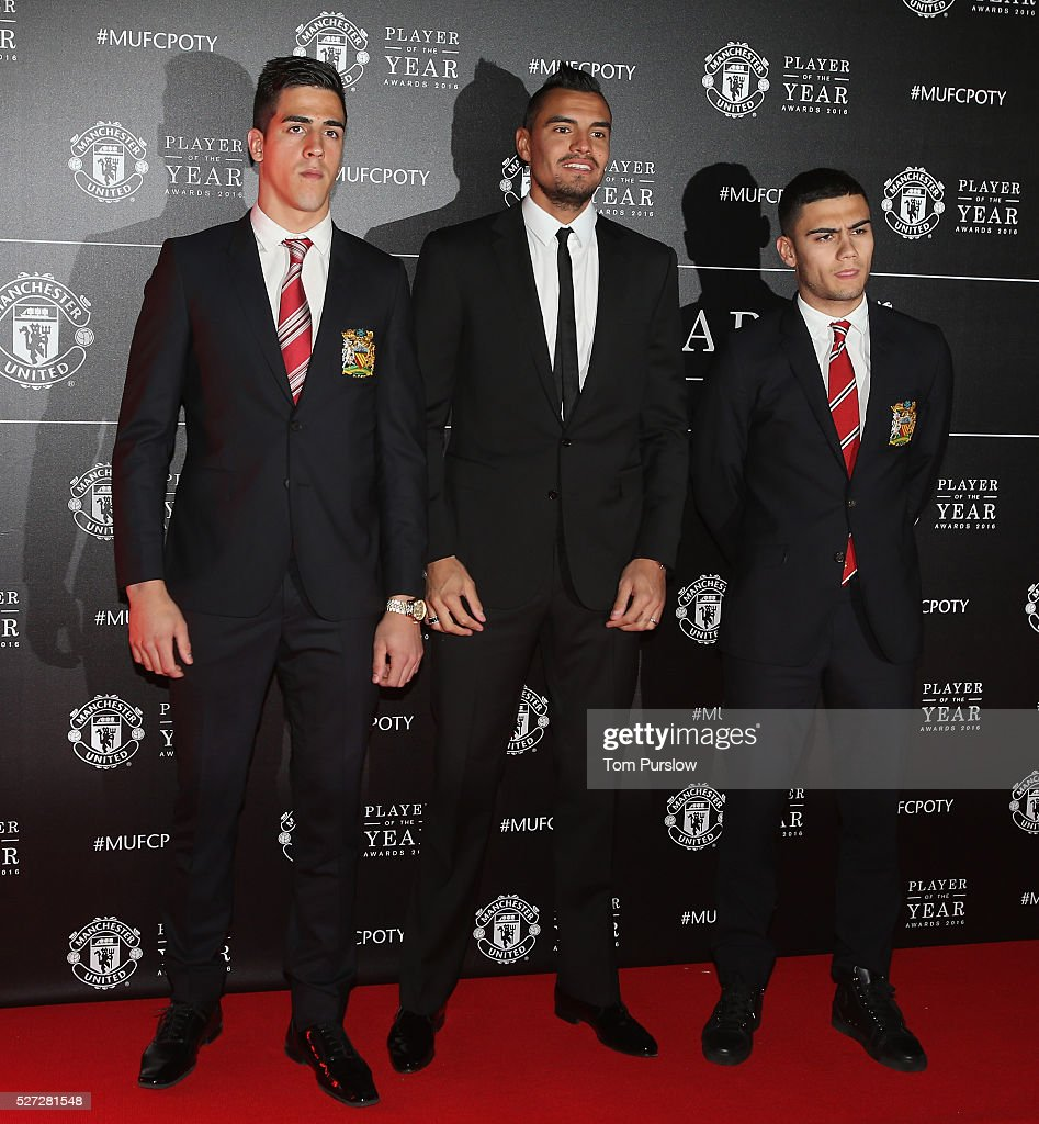 Joel Pereira, Sergio Romero and Andreas Pereira of Manchester United arrive at the club's annual Player of the Year awards at Old Trafford on May 2, 2016 in Manchester, England.