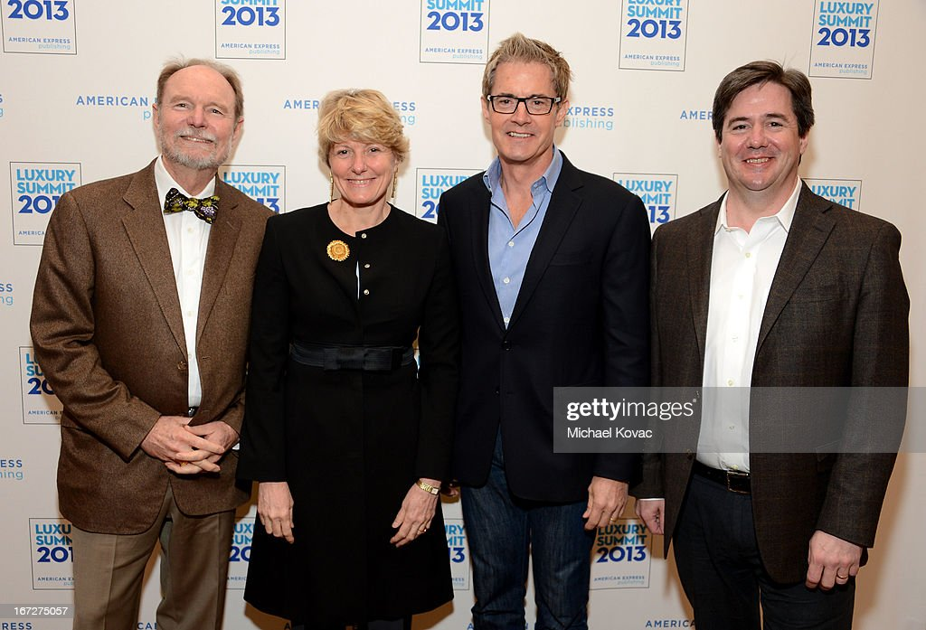 Joel Peterson, Founding Winemaker, Ravenswood Winery, Cecile Bonnefond, CEO, Piper-Heidsieck, Charles Heidsieck, actor <a gi-track='captionPersonalityLinkClicked' href=/galleries/search?phrase=Kyle+MacLachlan&family=editorial&specificpeople=213038 ng-click='$event.stopPropagation()'>Kyle MacLachlan</a>, and Ray Isle, Executive Wine Editor, Food & Wine, attend The American Express Publishing Luxury Summit 2013 at St. Regis Monarch Beach Resort on April 23, 2013 in Dana Point, California.