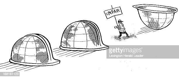 Joel Pett BW illustration of worker picketing with 'Unfair' sign between huge hardhats that look like globes