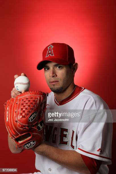 Joel Pineiro of the Los Angeles Angels of Anaheim poses during media photo day at Tempe Diablo Stadium on February 25 2010 in Tempe Arizona