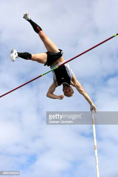 Joel Pocklington of Australia competes in the Men's pole vault open during the IAAF Melbourne World Challenge at Olympic Park on March 22 2014 in...