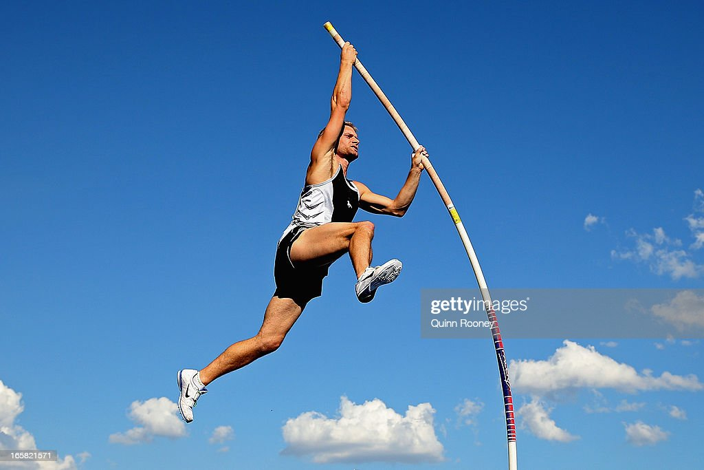 Joel Pocklington of Australia jumps in the Men's Pole Vault during the 2013 Melbourne Track Classic at Olympic Park on April 6, 2013 in Melbourne, Australia.