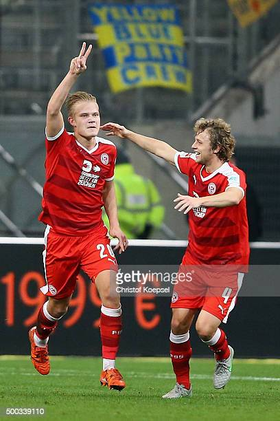 Joel Pohjanpalo of Duesseldorf celebrates the first goal with Julian Schauerte of Duesseldorf during the Second Bundesliga match between Fortuna...