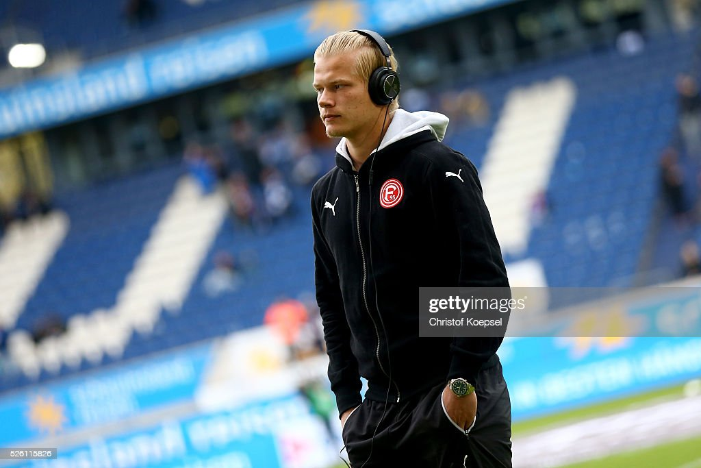 Joel Pohjanpalo of Duesseldorf looks on prior to the 2. Bundesliga match between MSV Duisburg and Fortuna Duesseldorf at Schauinsland-Reisen-Arena on April 29, 2016 in Duisburg, Germany.