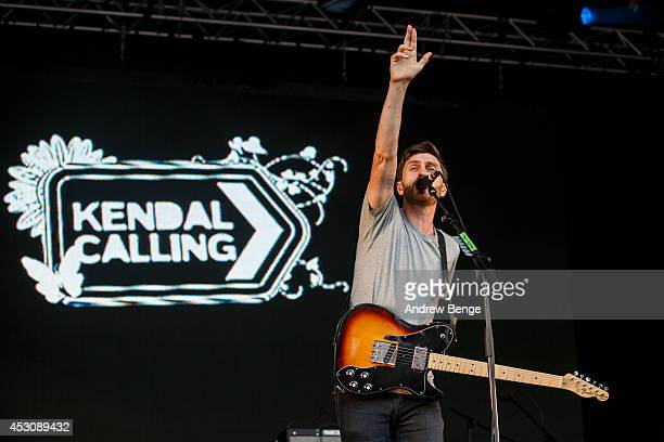Joel Pott of Athlete performs on stage at Kendal Calling Festival at Lowther Deer Park on August 2 2014 in Kendal United Kingdom
