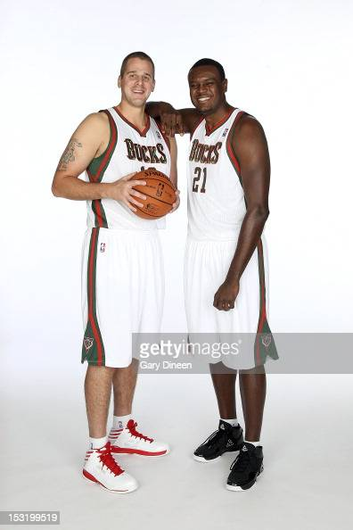 Joel Przybilla and Samuel Dalembert of the Milwaukee Bucks pose for a portrait during media day at the Milwaukee Bucks Training Center on October 1...