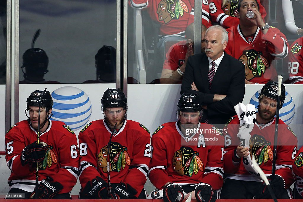 Joel Quenneville head coach of the Chicago Blackhawks looks on against the Los Angeles Kings during Game Seven of the Western Conference Final in the 2014 Stanley Cup Playoffs at United Center on June 1, 2014 in Chicago, Illinois.
