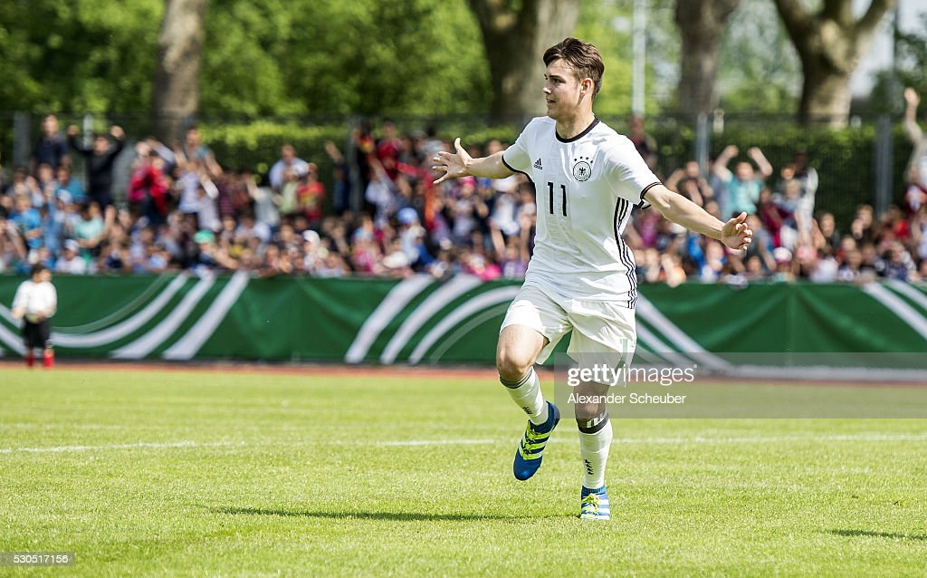 Joel Richter of Germany celebrates the first goal for his team during the international friendly match between Germany and Ireland on May 11 2016 in...